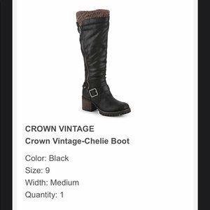 Crown Vintage- Chelie Boot, Black, Size 9